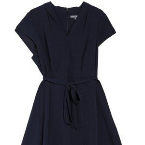 Sharagano Cap Sleeve Belted Fit and Flare Dress